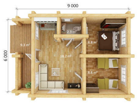 living log home 2 bedroom dimensions