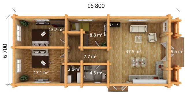 log home 3 bedroom plan