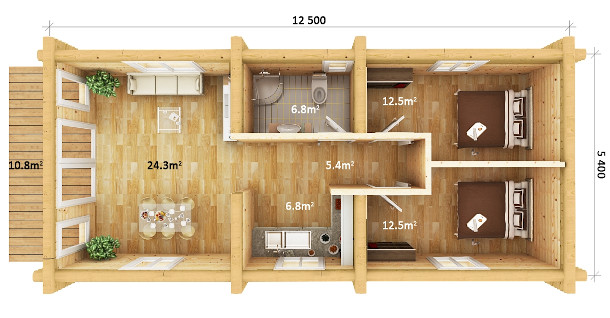 Static Home 2 bedrooms dimensions