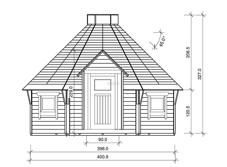 4m Glamping Pod Front Plans
