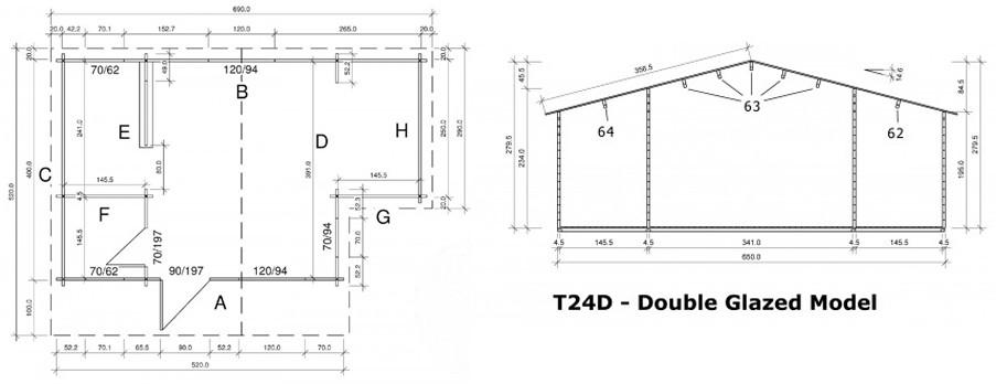 Deluxe Wareham log cabin dimensions