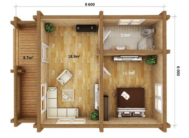 log home 1 bedroom plan
