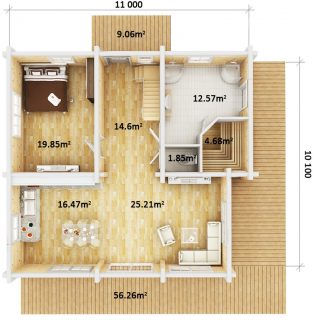 The Log House dimensions